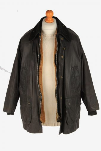 Mens Barbour Warm Pile Waxed Coat Vintage Size XL Dark Brown C3007-163182