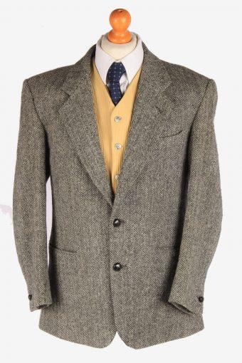 Harris Tweed Blazer Jacket Herringbone Grey L