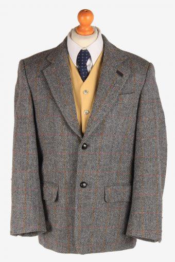Mens Harris Tweed Blazer Jacket Windowpane Country Grey M