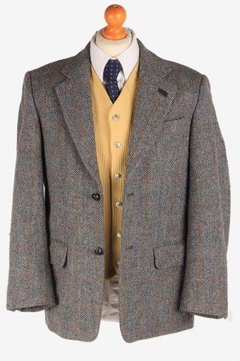 Mens Harris Tweed Blazer Jacket Windowpane Country Vintage Size M Grey -HT2923-165464