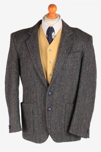 Harris Tweed Blazer Jacket Herringbone Dark Grey L