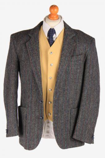 Harris Tweed Mens Blazer Jacket Herringbone Country Size L Dark Grey -HT2924-165470