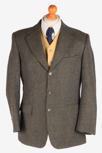 Burberry Mens Blazer Jacket Tweed Windowpane Grey M