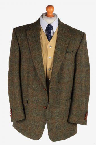 Harris Tweed Mens Blazer Jacket Windowpane Country Size L Green -HT2929-165500