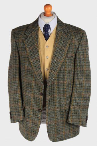 Harris Tweed Mens Blazer Jacket Windowpane Country Size L Green -HT2930-165506
