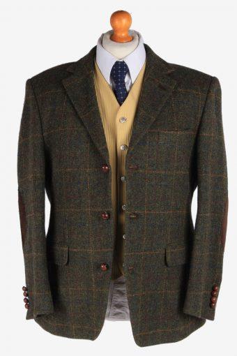 Harris Tweed Mens Blazer Jacket Windowpane Elbowpatch Size L Khaki -HT2931-165512