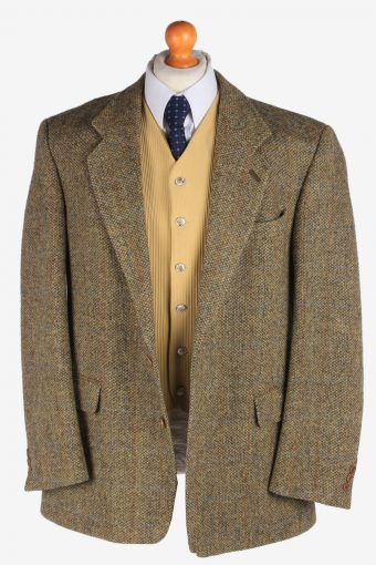 Mens Harris Tweed Blazer Jacket Windowpane Country Size L Multi -HT2934-165530