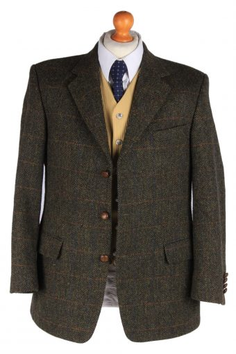 Mens Harris Tweed Blazer Jacket Windowpane Elbowpatch Size L Multi -HT2935-165536