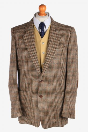 Harris Tweed Blazer Jacket Windowpane Elbow Patch L