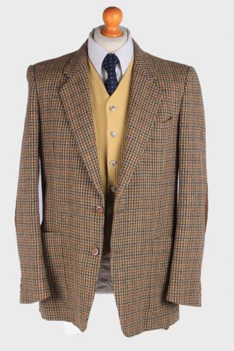 Harris Tweed Mens Blazer Jacket Windowpane Elbowpatch Size L Multi -HT2944-165589