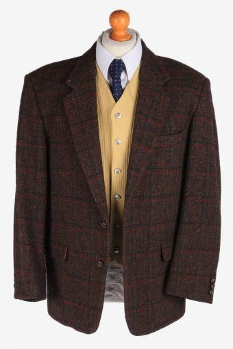 Mens Harris Tweed Blazer Jacket Windowpane Country Size L Dark Brown -HT2951-165631
