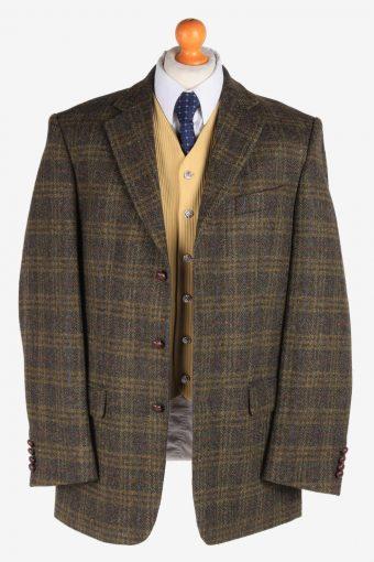 Mens Harris Tweed Blazer Jacket Windowpane Country Size XL Green -HT2953-165645