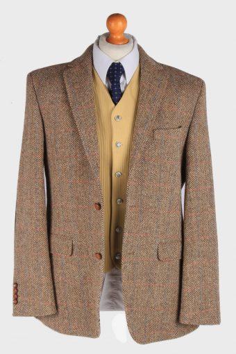 Mens Harris Tweed Blazer Jacket Windowpane Elbowpatch Size L Multi -HT2954-165651