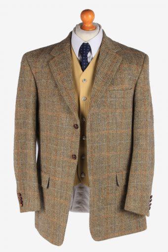 Mens Harris Tweed Blazer Jacket Windowpane Elbowpatch Size L Multi -HT2955-165657