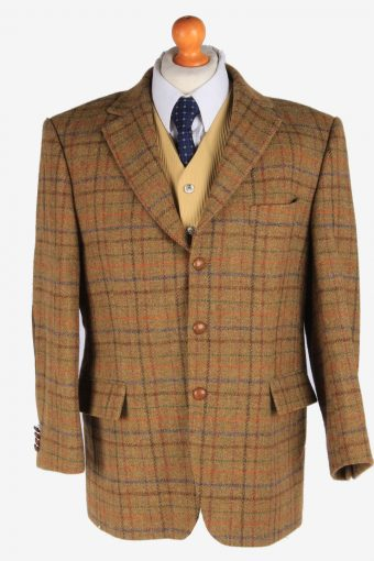 Mens Harris Tweed Blazer Jacket Windowpane Elbowpatch L
