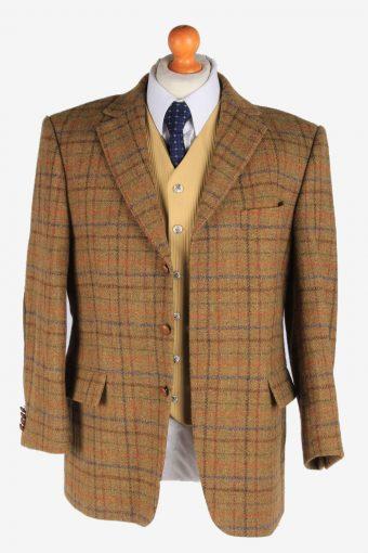 Mens Harris Tweed Blazer Jacket Windowpane Elbowpatch Size L Multi -HT2956-165663