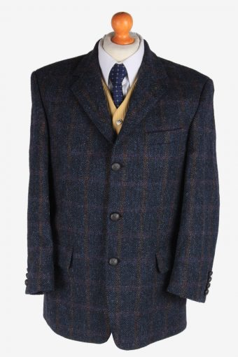 Harris Tweed Blazer Jacket Classic Windowpane Navy Blue M