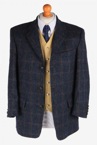 Mens Harris Tweed Blazer Jacket Windowpane Country Size M Navy -HT2958-165675