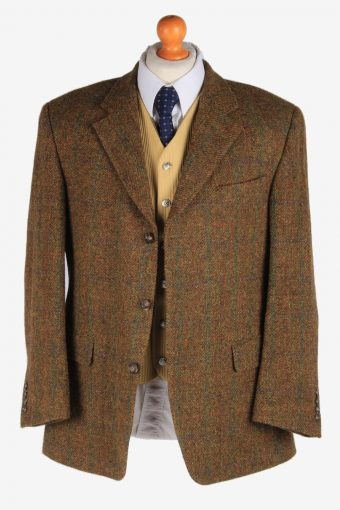 Mens Harris Tweed Blazer Jacket Windowpane Country Size L Green -HT2959-165681