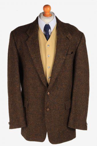 Mens Benvenuto Tweed Blazer Jacket Herringbone Dark Brown XL