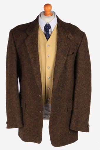 Mens Benvenuto Tweed Blazer Jacket Herringbone Country Vintage Size XL Dark Brown -HT2962-165699