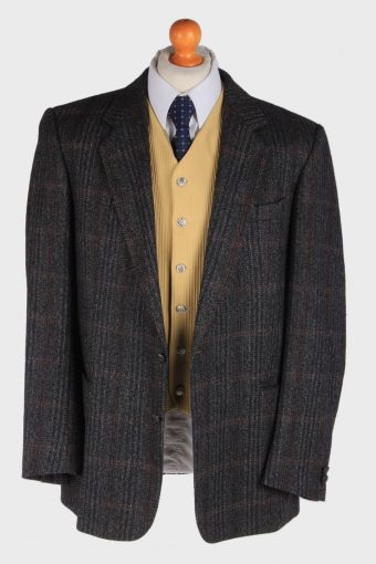 Burberry Tweed Mens Blazer Jacket Windowpane Country Size XL Dark Grey -HT2968-165735