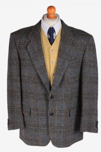 Harris Tweed Blazer Jacket Classic Windowpane Dark Grey XL