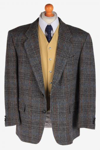 Harris Tweed Mens Blazer Jacket Windowpane Country Size XL Dark Grey -HT2970-165747
