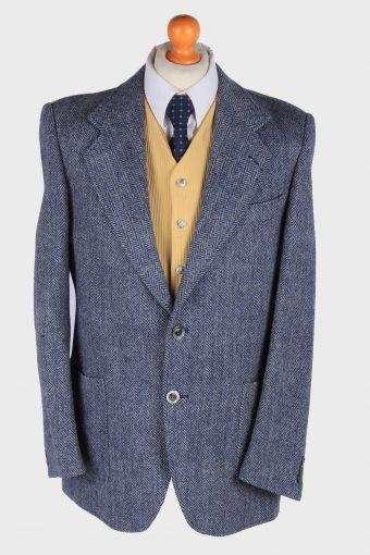 Mens Harris Tweed Blazer Jacket Herringbone Blue S