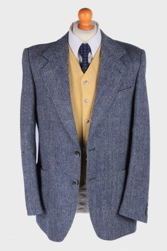 Mens Harris Tweed Blazer Jacket Herringbone Country Vintage Size S Blue -HT2980-165808