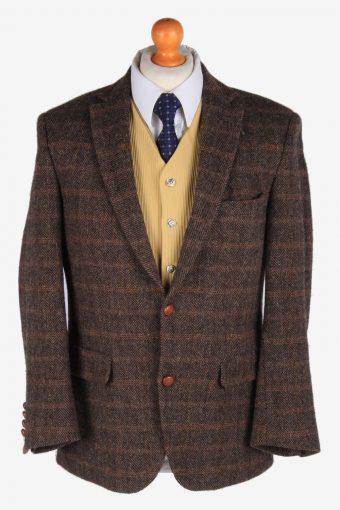 Harris Tweed Blazer Jacket Classic Windowpane Dark Brown S