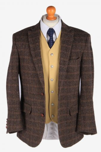 Mens Harris Tweed Blazer Jacket Windowpane Country Size S Dark Brown -HT2981-165814