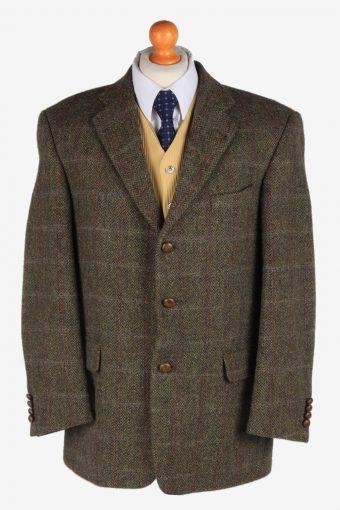 Harris Tweed Blazer Jacket Classic Windowpane Dark Green L