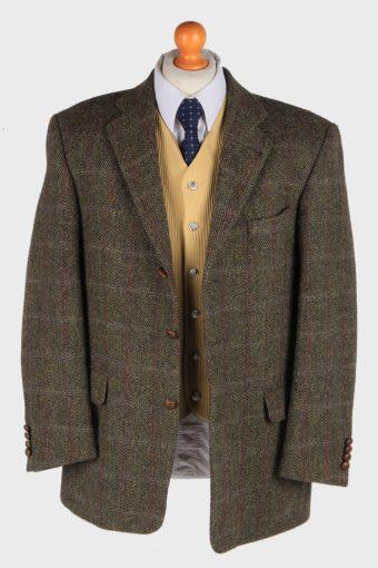 Mens Harris Tweed Blazer Jacket Windowpane Country Size L Dark Green -HT2982-165820