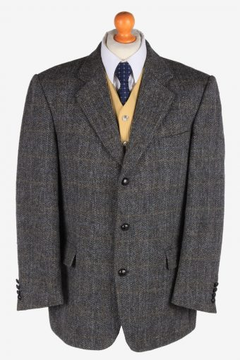 Harris Tweed Blazer Jacket Classic Windowpane Grey XL