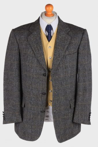 Mens Harris Tweed Blazer Jacket Windowpane Country Size XL Grey -HT2984-165832