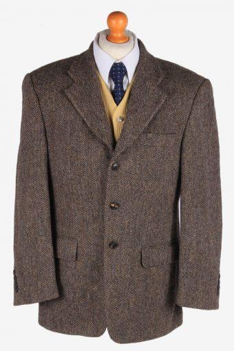 Mens Harris Tweed Blazer Jacket Herringbone Brown L