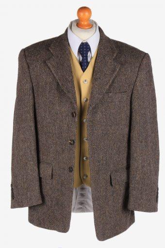 Mens Harris Tweed Blazer Jacket Herringbone Country Size L Brown -HT2985-165838