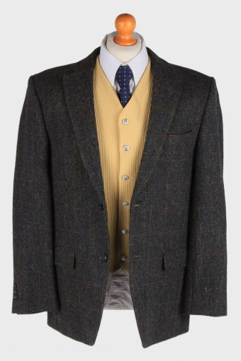 Harris Tweed Mens Blazer Jacket Windowpane Country Size XL Dark Green -HT2989-165862