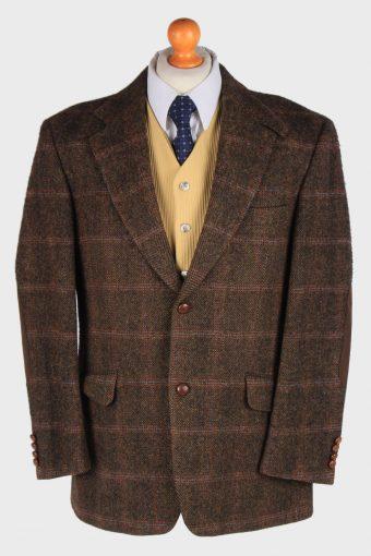 Harris Tweed Blazer Jacket Windowpane Elbow Patch Dark Brown L