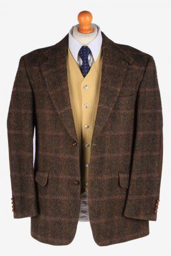Harris Tweed Mens Blazer Jacket Windowpane Elbowpatch Size L Dark Brown -HT2991-165874