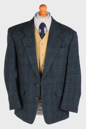 Harris Tweed Mens Blazer Jacket Windowpane Country Size L Dark Green -HT2994-165892