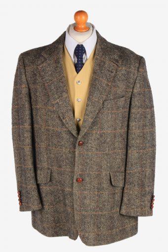 Harris Tweed Blazer Jacket Classic Windowpane Brown XXL
