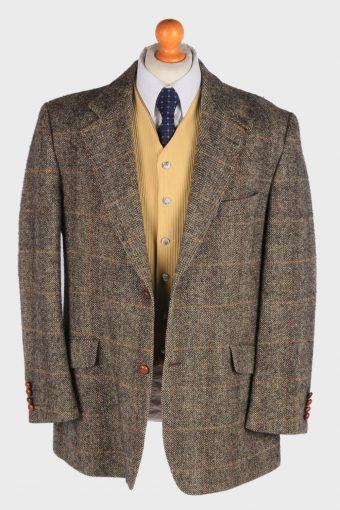 Mens Harris Tweed Blazer Jacket Windowpane Country Size XXL Brown -HT2997-165910