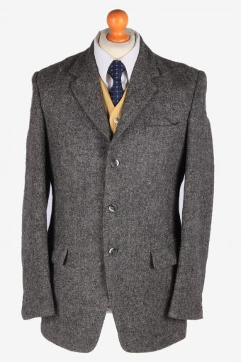 Mens Harris Tweed Blazer Jacket Herringbone Grey M