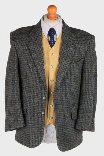 Mens Harris Tweed Blazer Jacket Windowpane Country Vintage Size L Green -HT3000-165928