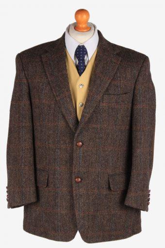 Mens Harris Tweed Blazer Jacket Windowpane Elbowpatch Dark Brown L