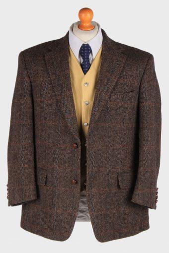 Mens Harris Tweed Blazer Jacket Windowpane Elbowpatch Size L Dark Brown -HT3002-165940