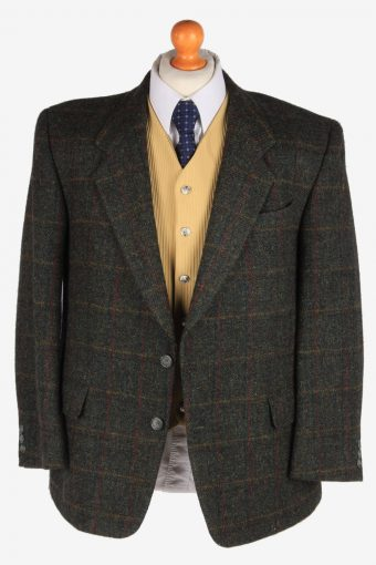 Harris Tweed Mens Blazer Jacket Windowpane Country Size XL Dark Green -HT3003-165946