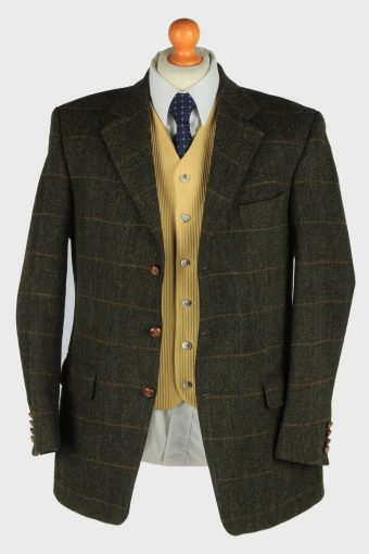 Harris Tweed Mens Blazer Jacket Windowpane Country Size L Multi -HT3012-166000